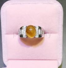 Янтарное кольцо Натурального янтаря 925 стерлингового серебра Бесплатная доставка Изящных ювелирных изделий Для мужчин или женщин кольца 3ct камень #16110101(China (Mainland))