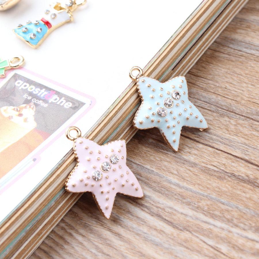 Free Shipping 30PCS/Lot Kawaii Stars Charms 20*25MM Gold Tone Alloy DIY Jewelry Floating Charm Oil Drop Fashion Charm Pendant(China (Mainland))