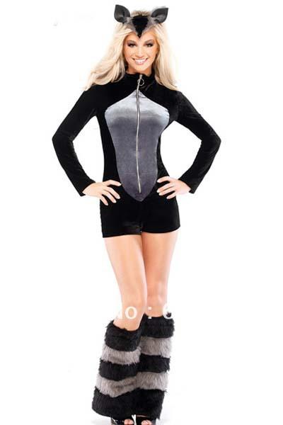 sexy women's furry raccoon costume cosplay outfit animal dancewear wth romper headband leg warmer totally 3pcs #1442(China (Mainland))