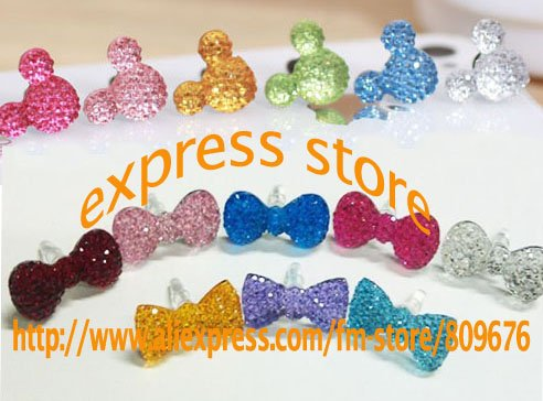 1000pcs/lot cute candy dustproof plug 3.5mm Earphone colorful crystal Bow Jack Plug for iphone ipad ipod free shipping by DHL(China (Mainland))