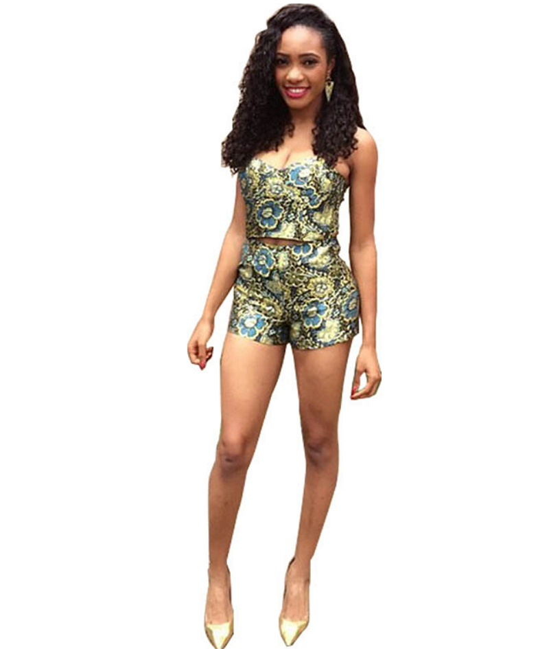 2016 Summer Style Bodycon Jumpsuit Vintage Sexy Two Piece Outfits Crop Top And Shorts Set ...