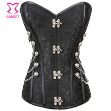 Gotico Corpetes E Espartilhos Plus Size Corset Waist Training Black Brocade Overbust Steel Boned Steampunk Corsets And Bustiers