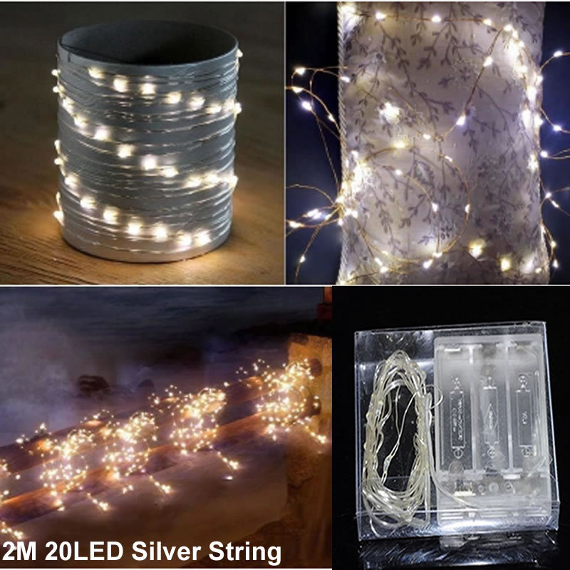 Led String Lights Wedding : 9 colors 6.56ft 2M 20 battery operated silver wire led string lights wedding holiday led ...