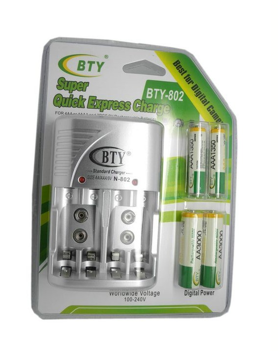 BTY 1.2V AAA 4*1350mah Rechargeable Ni-MH Battery + BTY-802 AA /AAA Battery charger(China (Mainland))