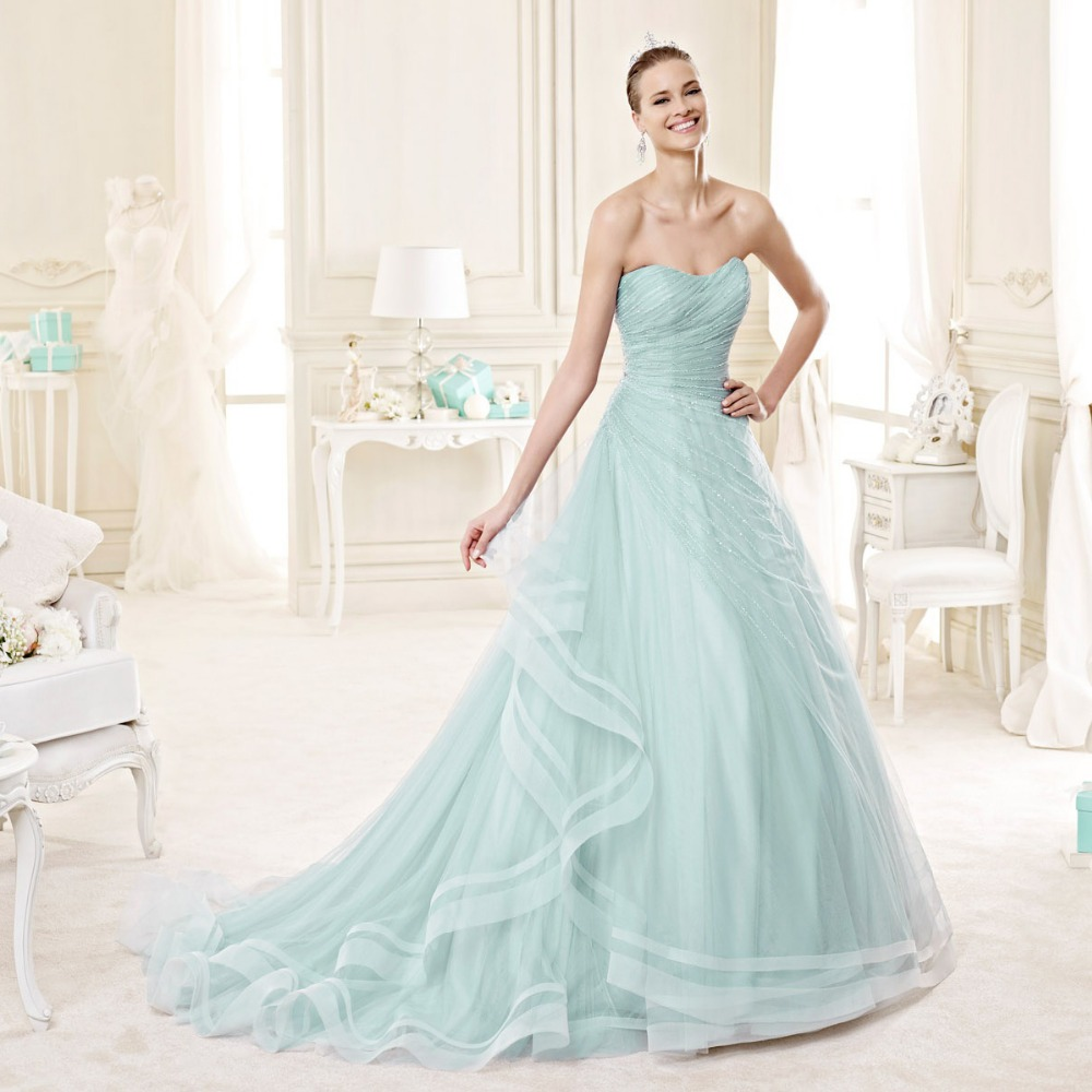 Plus size light blue wedding gowns promotion shop for for Light blue dress for wedding
