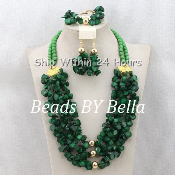 Well Made African Wedding&Party Beads Necklace Set Green Coral Beads Jewelry Gold Plated Jewelry Set Free Shipping ABC957(China (Mainland))