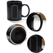 Batterie changement de couleur thermomètre sensible à la chaleur café tasse de porcelaine(China (Mainland))