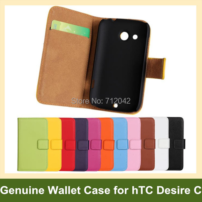 100pcs x Genuine Leather Folding Wallet Flip Cover Case for hTC Desire C A320e DHL/EMS Free Shipping