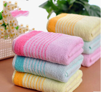 Cotton towel manufacturer direct supply 32*73cm comfortable and soft with red/yellow/green three color free shipping(China (Mainland))