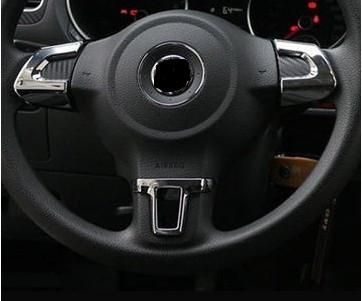 Steering Wheel sticker  ABSChrome trim accessories case for Volkswagen VW GOLF 6 MK6 POLO JETTA MK5 MK6 bora(China (Mainland))