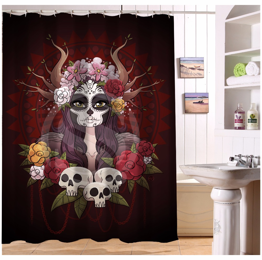 Jolly roger shower curtain - U419 71 Custom Home Decor Cool Pirate And Skull Fabric Modern Shower Curtain European Style Bathroom Waterproof Wjy1