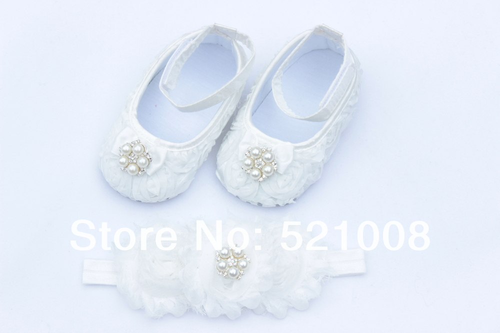 White Baby Flower Shoes with Rhinestone Matched Headband for Girl First Walkers Newborn Soft Sole Shoes 1 sets(China (Mainland))