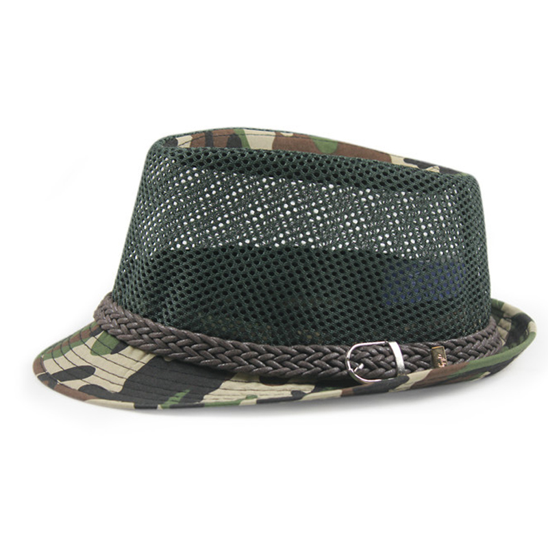 Camouflage jazz hat Hip-hop Street Dance Topper Cool summer mesh breathable mesh cap Unisex Fedoras 3color 1pcs(China (Mainland))