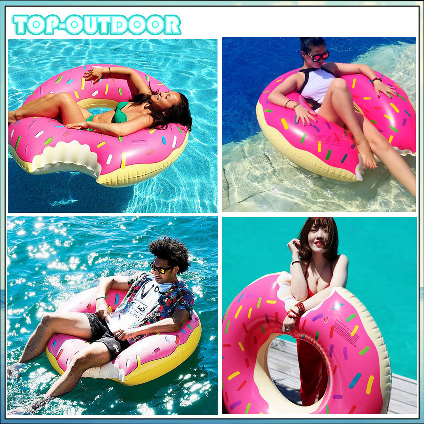 120cm Inflatable Strawberry Doughnut Swimming Laps Swim Arm Ring Lifebuoy Floating Mat Thicken Environmental PVC Water Party(China (Mainland))