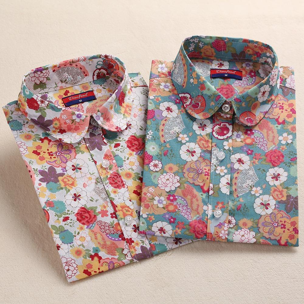 2016 Floral Women Blouses Long Sleeve Shirt Cotton Women Shirts Cherry Casual Ladies Tops Animal Print Blouse Plus Size 5XL(China (Mainland))