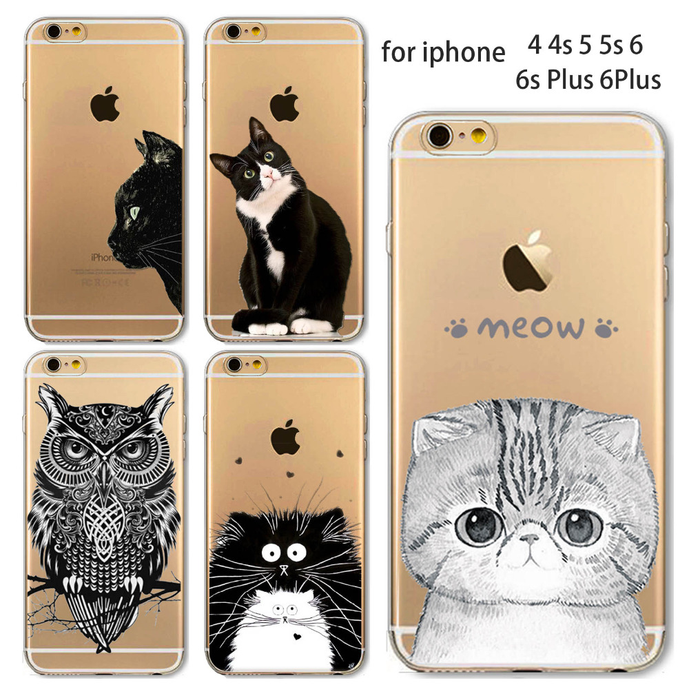 Phone Case For Apple iPhone 4 4S 5 5S SE 5C 6 6S 6Plus 6s Plus Soft TPU Silicon Transparent Thin Cover Cute Cat Owl Animal Case(China (Mainland))