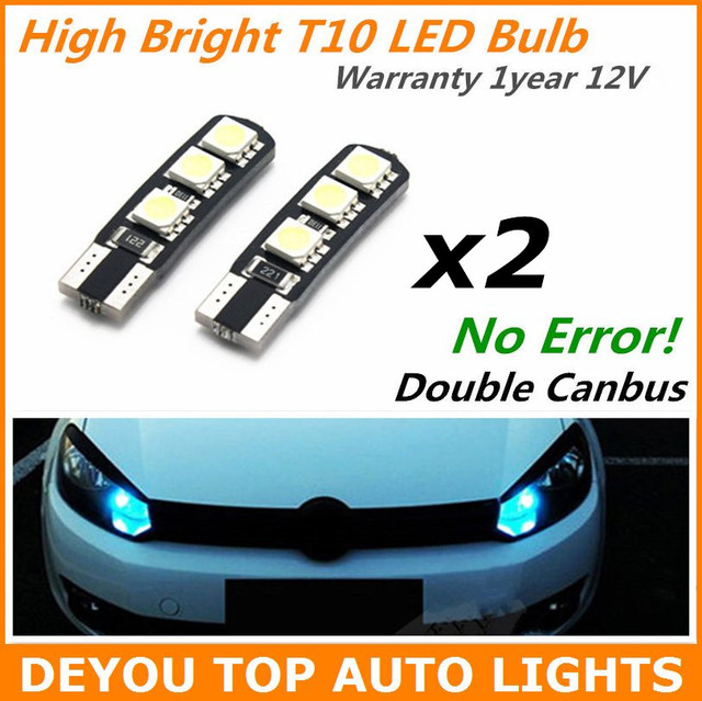 4pcs/lot No Error Canbus 194 W5W 168 2825 T10 Wedge LED Light Bulb For Signal Trunk Dashboard Parking Interior Lights Lamp White