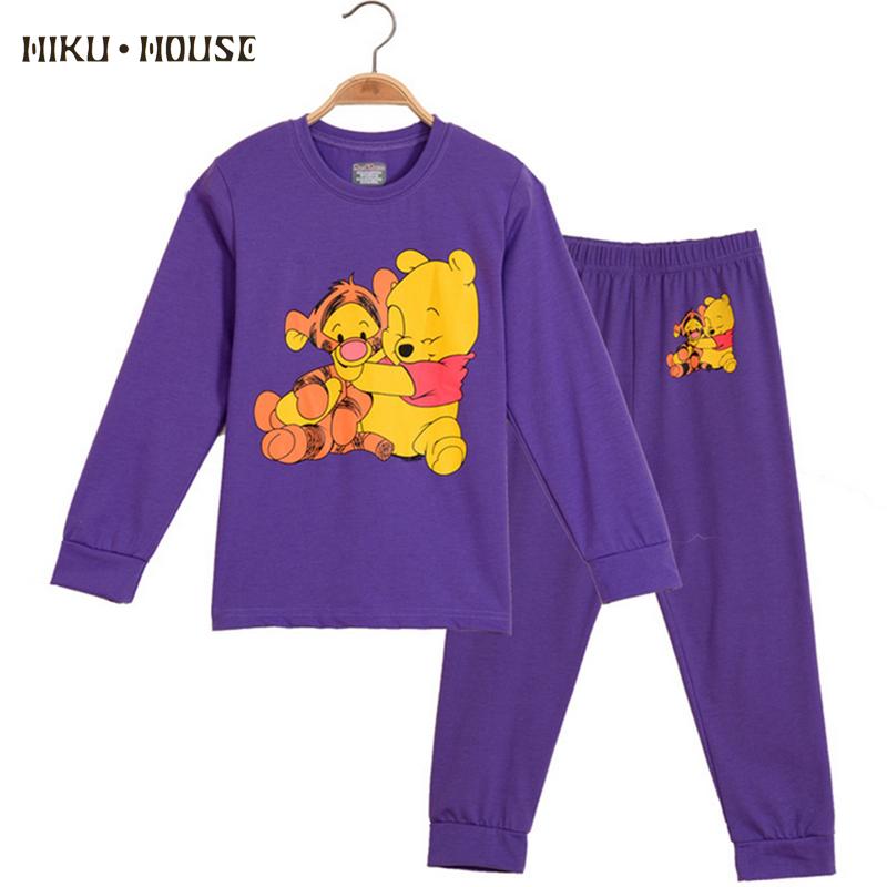 Autumn Baby Girl Sleepwear Cartoon Bear Suit Pajamas For Girls Pajamas Kids Purple Cute Cotton Children Nightclothes 2Pcs(China (Mainland))