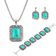 Big Square Turquoise Three-Piece Necklaces Bracelet And Earrings Set Retro Luxury Suite Crystal Jewelry Set Wholesale b10hjs(China (Mainland))