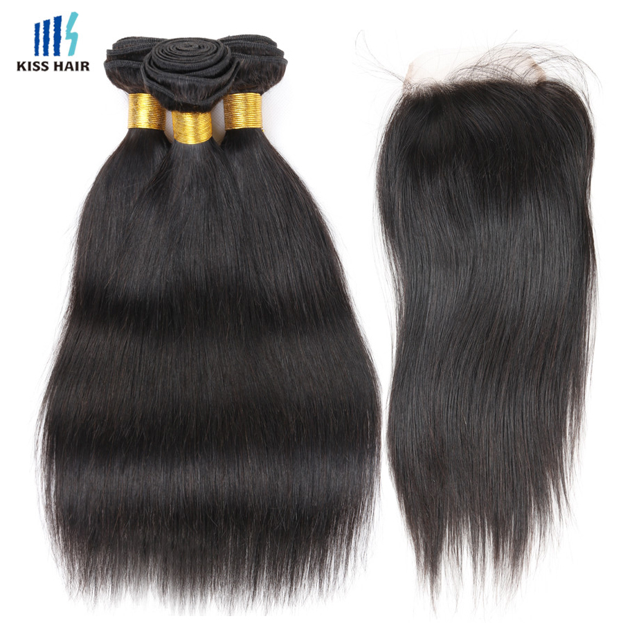 Peruvian Virgin Straight Hair With Closure Kiss Hair Peruvian Straight Hair Lace Closure 7A Unprocessed Human Hair with Closure