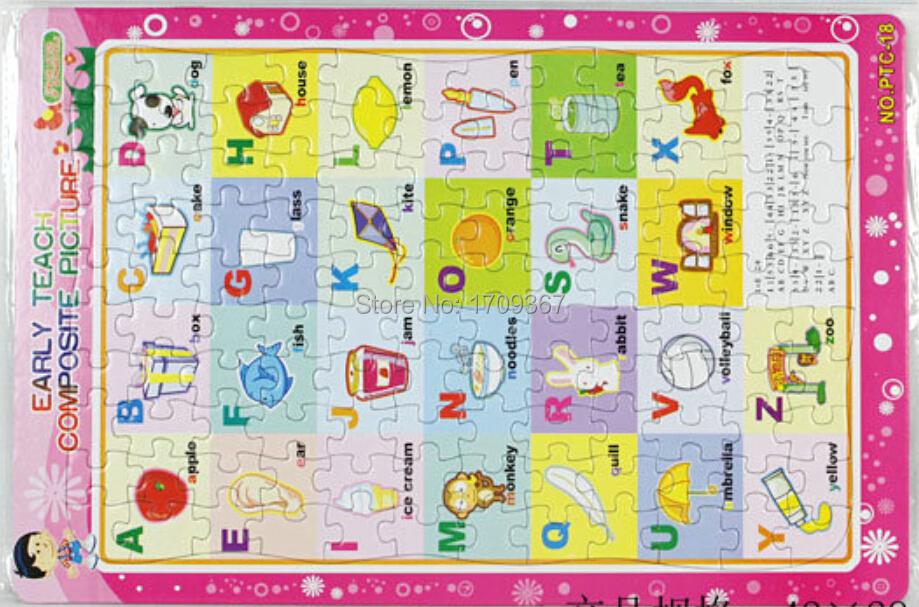 Free shipping premiums GC-PTC-18-OPP Multicolor 42 x 28 cm 120PCS English Letters Cartoon Custom OEM Jigsaw puzzles toy(China (Mainland))