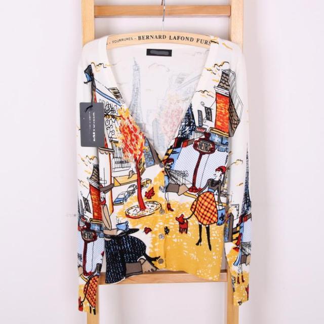 2015  Spring  drawing print lady Длинный-Рукав свитер кардиган Женщины V - образный вырез Повседневный Вязанный outerwear