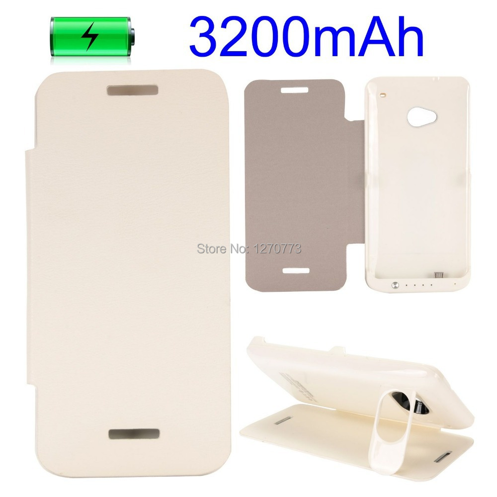 3200mAh Portable Charger Power Bank External Backup Battery Case for HTC One M7 with Kickstand White Battery Charger(China (Mainland))