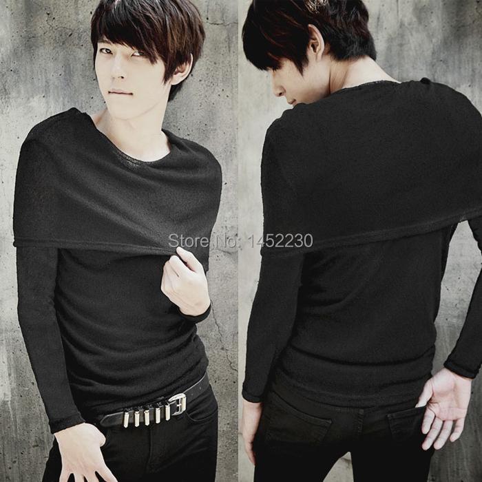 korean men k-pop hoodie extended hip hop streetwear undershirt tee top citi trends clothing slim pure black long-sleeve t shirts(China (Mainland))