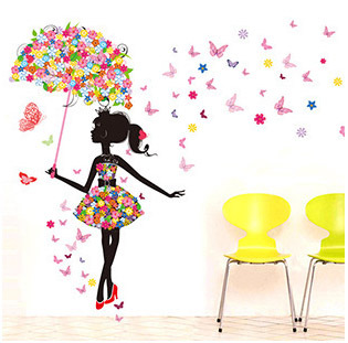 Buy fashion modern girl butterfly wall for Decoration murale wish