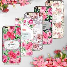 Elegant luxury Minimal Crown Floral Flower Painted Silicone Soft Cover For iPhone 5s 6s Caso fundas for female Girls Phone Case