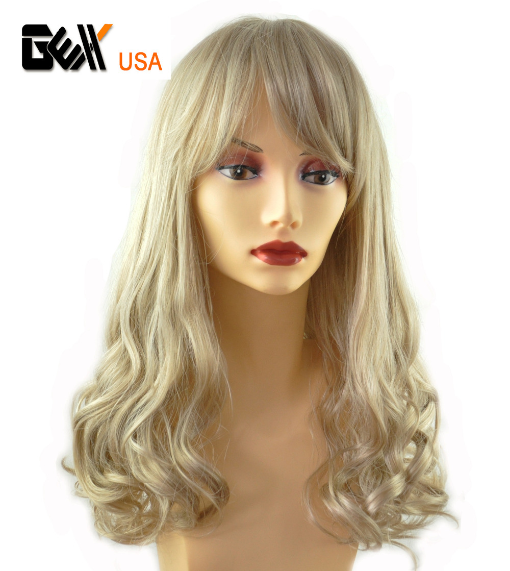 2016 GEX NEW Fasion Medium Long Synthetic Wig Hair Piece T Color Piano Color Wave Mixed Blonde 613(China (Mainland))