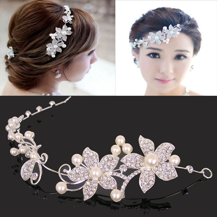 2015 crystal pearl wedding headband for women fashion. Black Bedroom Furniture Sets. Home Design Ideas