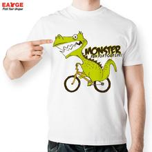 [EATGE] Monster Dinosaur Ride Bicycle Run Life Fashion Cool T-shirt Funny Novelty Design T Shirt Creative Anime Tshirt Men