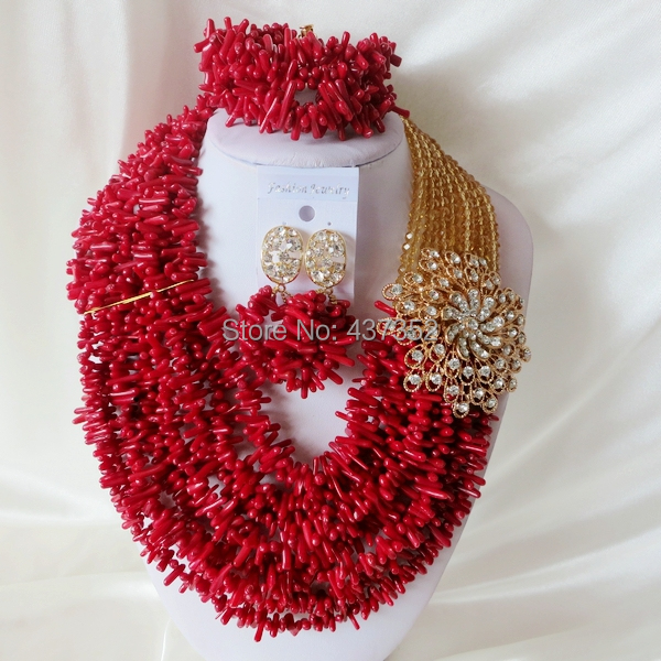 Handmade Nigerian African Wedding Beads Jewelry Set , Champagne Gold Crystal Coral Beads Necklace Bracelet Earrings Set CWS-421