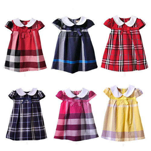 Bilibaya Baby Girl's Dress kid One-piece Dress Children Summer Clothing Bow Plaid Cotton 1005 Free Shipping(China (Mainland))