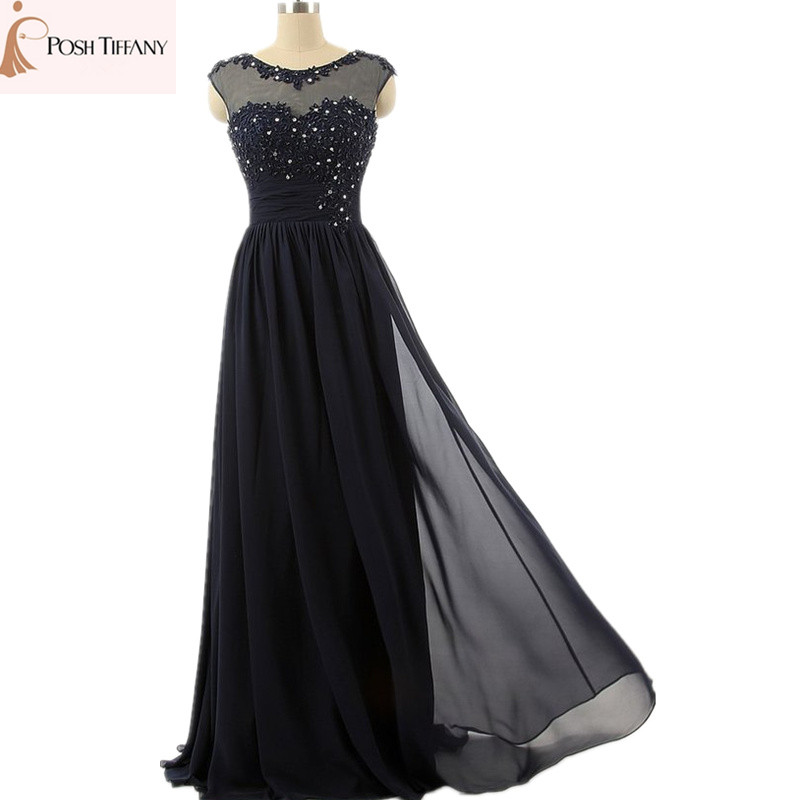 Real strapless applique beading chiffon formal champagne for Navy evening dresses for weddings