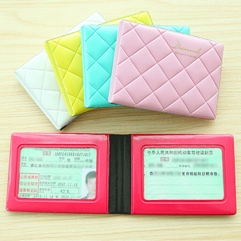 Card holder Pvc leather bag lovely ladies diamond driver's license folder documents folder card packages IC card(China (Mainland))