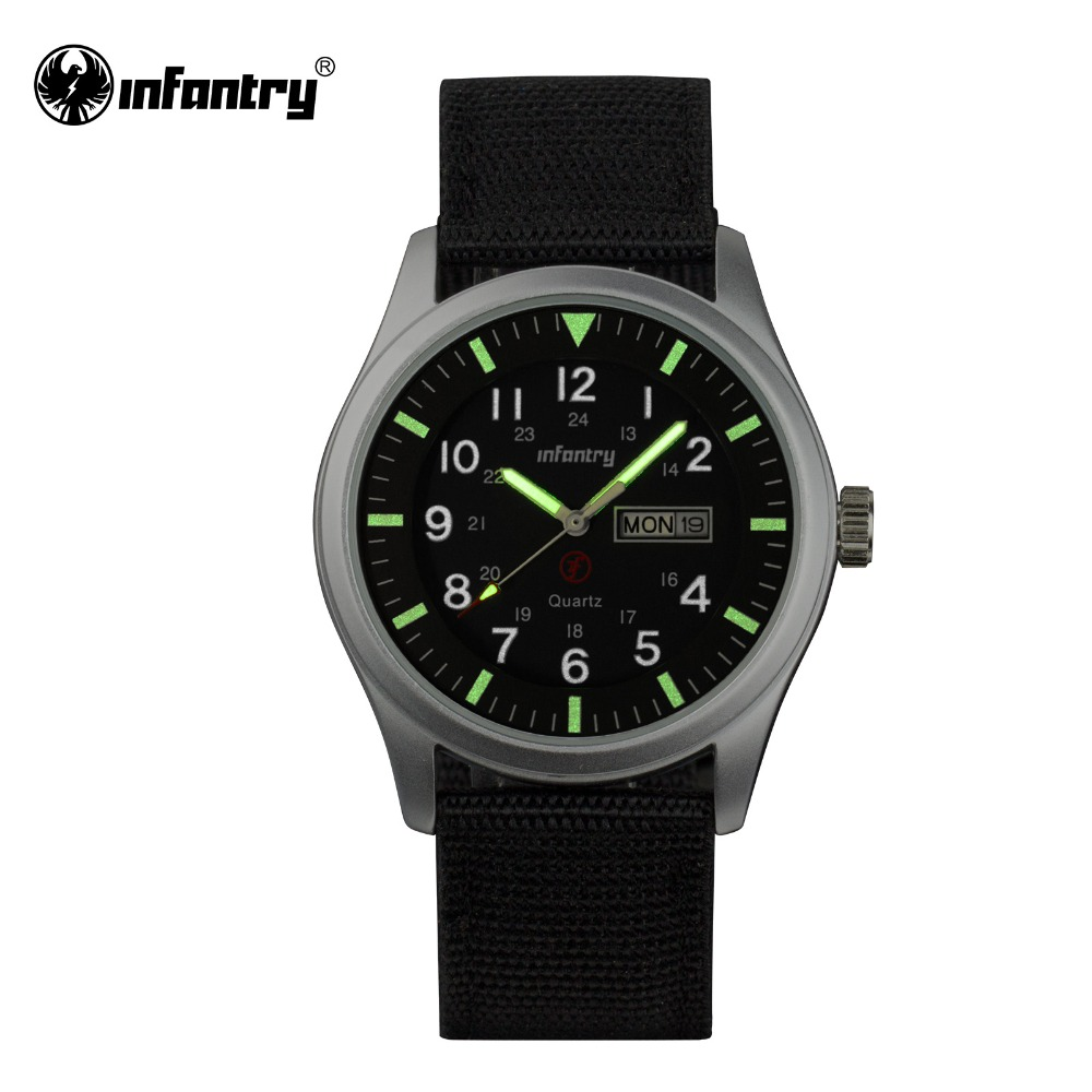 INFANTRY Mens Wristwatches Top Brand Luxury Quartz Watch Luminous 2016 Sports Army Clock Men Black Nylon Relogio Masculino(Hong Kong)