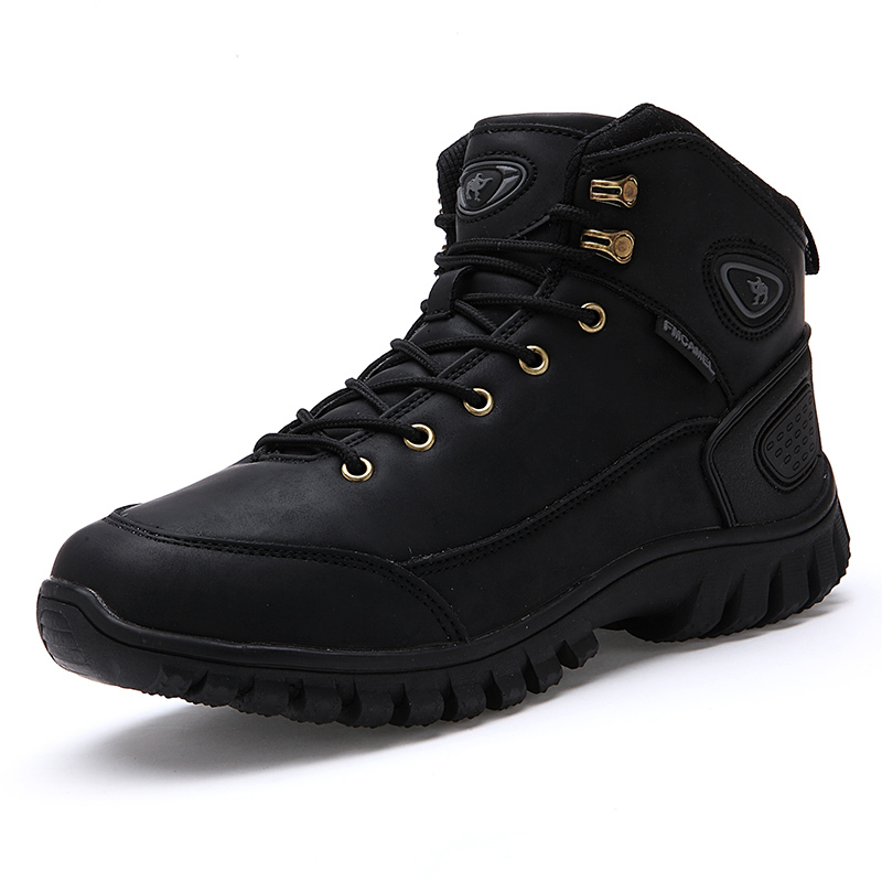 Designer New 2015 Tenis Zapatos Hombre Genuine Leather Warm FUR Winter Snow Shoes Men Black Outdoor Sports Camping Hiking Shoes(China (Mainland))