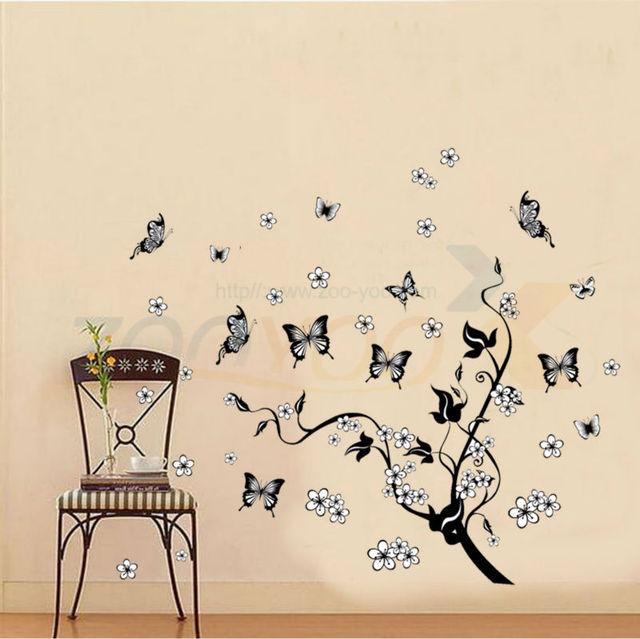 Полет бабочки вокруг черный дерево вайн цветочные наклейки на стены украшения дома бабочка цветы дерево стены стикеры ZYPA-7005