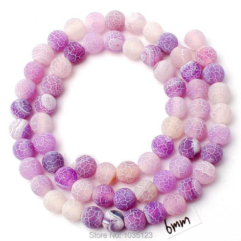"""Free Shipping 6mm Cracked Frosted Purple Natural Agate Round Gem Loose Beads Strand 15"""" DIY Gem Creative Jewellery Making w2967(China (Mainland))"""