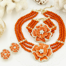 New Year Gift~Beads Choker Classic Orange Red Blue Roses Nigerian African Beads Jewelry Set Wedding Party Queen Jewelry Sets(China (Mainland))