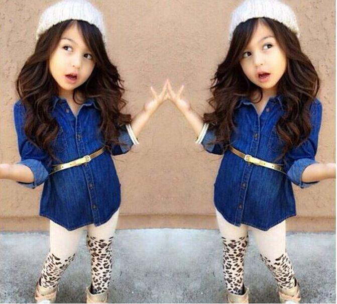 New Arrival Girls Clothing Set Baby Denim Suit Long Sleeve Denim Shirt+Belt+Leopard Legging Pants Kids Comfortable Garment(China (Mainland))