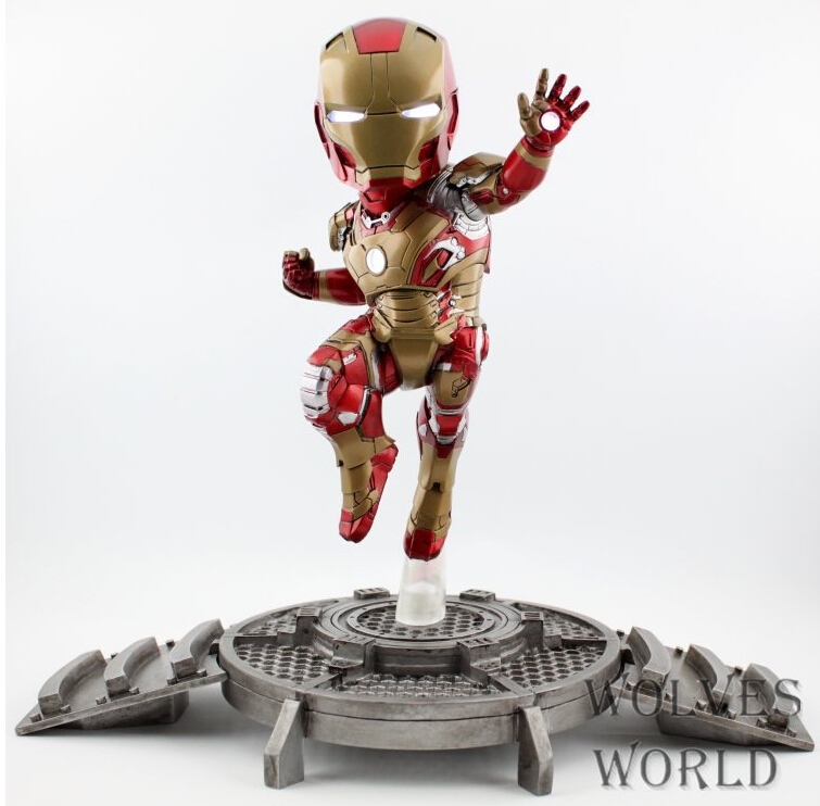 23cm Hot Iron Man light Action Figures PVC brinquedos Collection Figures toys for christmas gift<br>