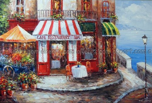 100% hand painted French Restaurant Cafe Bar Sidewalk Table Beach Ocean decoration Oil Painting free shipping(China (Mainland))