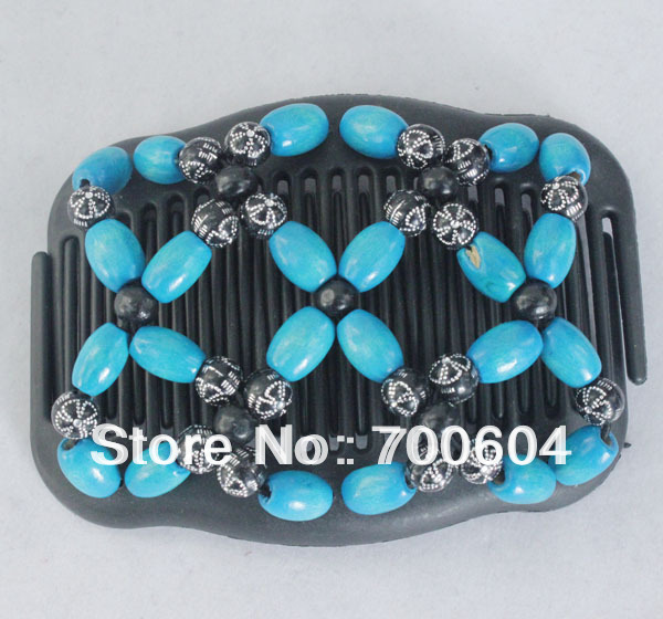 wholesale,Fashion wooden Double/twin Magic butterfly stretchy beaded Hair jewelry clips&hair bows Combs for women,10PCS/Lot,