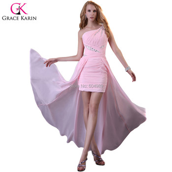 Grace Karin Sexy Pink Front short long Back dress Party Evening Elegant High low Formal Dresses Gown 2015 robe de soiree 3828