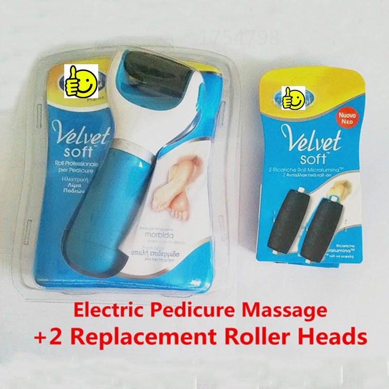 Pedicure elétrica massagem + 2 substituição cabeças de rolo pés ferramenta de cuidados calcanhar cuidados com a pele esfoliante remoção cutícula moagem peeling