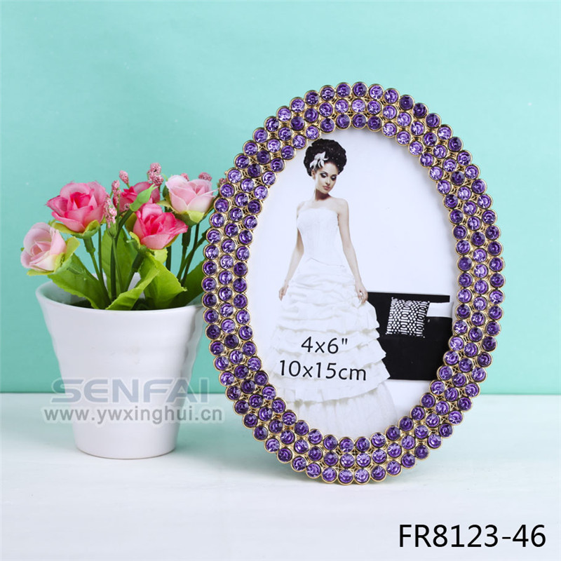 Fronze Purple Crystal Bountique Rhinestone Picture Frame,Wedding Picture Frame White,frame photo to the christmas porta retrato(China (Mainland))