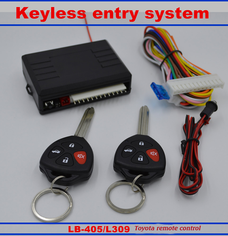New Car Central Lock Kit Auto Keyless Enter System Car Remote Control Output Transmitter Controllers Car Alarm System For Toyota(China (Mainland))